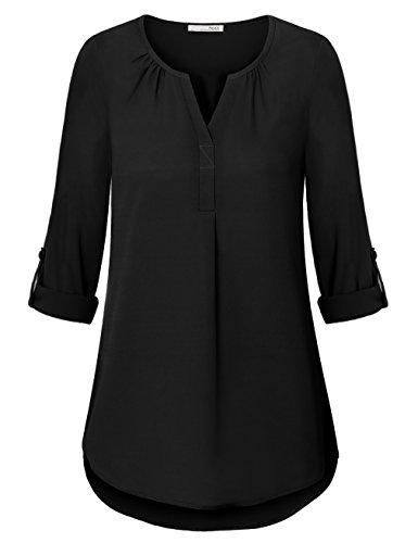 Messic Chiffon Tunic Tops for Women, Ladies Lightweight Long Sleeve Chiffon Blouse V Neck Pleats Tunic Shirt Black X-Large by Messic