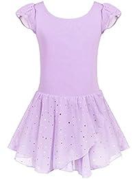 Girls Ruffle Sleeve Ballet Dance Dress Glitter Tutu Skirted Leotard