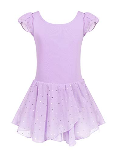 - Arshiner Girls Ruffle Sleeve Ballet Dance Dress Tutu Skirted Leotard