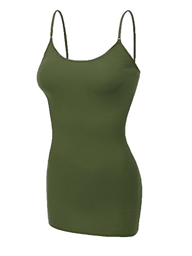 Emmalise Clothing Women's Basic Casual Plain Long Camisole Cami Top Tank, Olive, Small