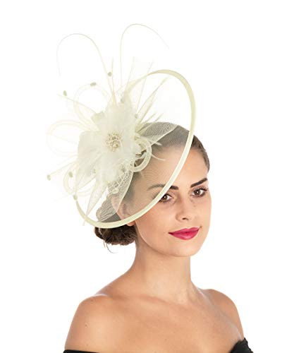 (Lucky Leaf Women Trendy Fascinators Hair Clip Hairpin Hat Feather Cocktail Wedding Tea Party Hat (8-Beige) )