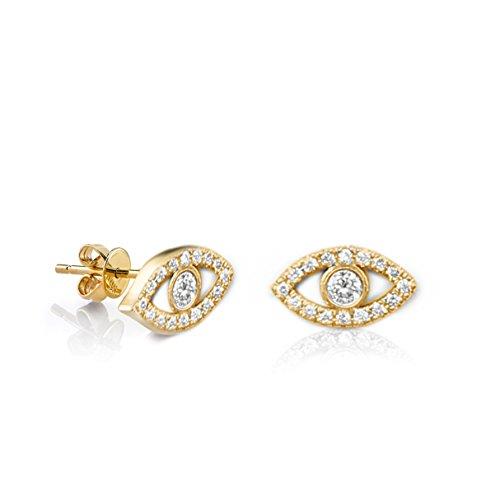 - Evil Eye Earrings, Natural Diamond Studs - 14K Gold Pave Diamond Stud Earrings, Butterbly Post Gold Studs, Eye Diamond Earrings