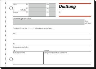 Quittungen mit MwSt. NachweisundSicherheitsdruck A6 quer Blatta