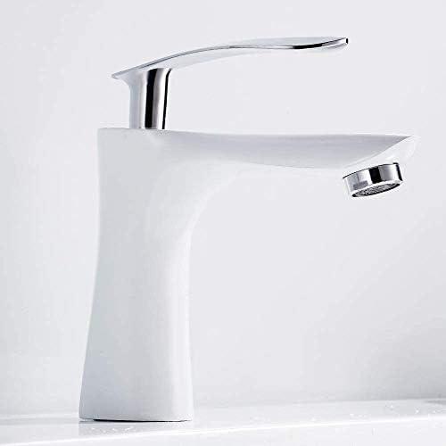 Dmqpp Waschtischmischer Tap, Modern Einhebel Waschbecken warm/kalt Hähne mit Messing Hahn-Körper Wasserhahn (Color : White)