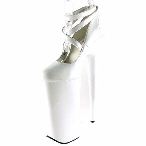 Pleaser Women's Beyond 087 Pumps,White,9 M