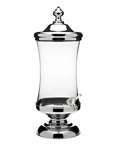 Shannon Crystal Horizon Chrome and Glass Mouth Beverage Dispenser Party Catering Buffet - 2.5 Gallon
