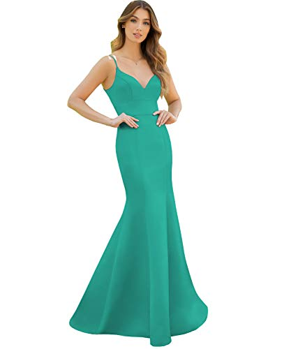 Women's Floor Length Mermaid Prom Dresses V Neck Satin Evening Party Gown Turquoise Plus Size 18w