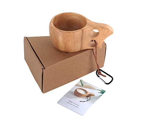 Nordic Wood - Rubber Wood Cup in gift box,Nordic Style,Kuksa Lapland Finland wooden drinking Cup for Coffee,Tea, Milk,Soup.Handmade Wooded Mug for Backpack,Camping,Bushcraft,Cup with 2 hole grips