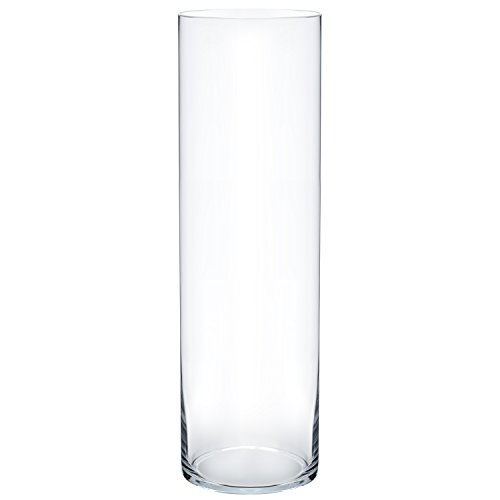 Flower Glass Vase Decorative Centerpiece For Home or Wedding by Royal Imports - Cylinder Shape, 16