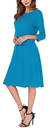 Womens 3/4 Sleeves Flared Midi Long Dress Small Acid Blue