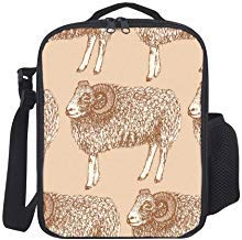 Portable Thermal Insulated Lunch Bag Insulated Ram In Vintage Style Sheep Animal Lunch Bag Large Lunch Boxes Cooler Lunch Tote With Shoulder Strap For Boys Girls Teens Women Adults ()