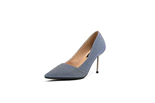 DANDANJIE Calzado De Mujer Zapatos Tacones Tacón De Aguja Tacón De Tacón Zapatos para Fiesta De Boda Blue
