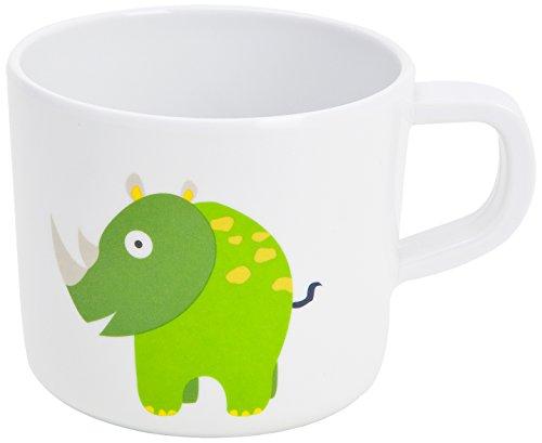 Lässig Dish Cup Melamin Tasse Trinkbecher mit Henkel Schnabeltasse aus 100% Melamin BPA-frei und rutschfest, Wildlife Rhino