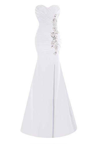 Appliques Bridal Split Prom Long Bess Pleats Women White Dresses Mermaid s PdwH0Tq