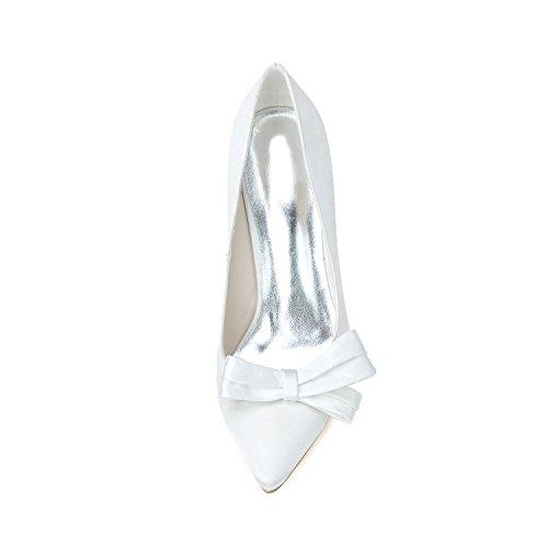 Silver Tarde Tacones L Del Satén Verano Y Mujeres De Fiesta La Boda Zapatos Primavera Cómoda Básica Bomba yc Altos Las U5q5H