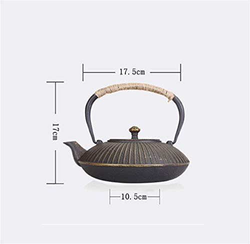 FJH Cast Iron Teapot, Uncoated Vintage Japanese Craft Iron Handmade Cast Iron Tea Set 1.2L by FJH (Image #6)