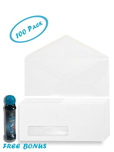Quality Mail #10 White Envelopes - Gummed Seal - Left Window - 4-1/8 x 9-1/2 Inches - Perfect for Businesses, Schools, Personal use and more - Includes Free Envelope Moistener with Adhesive - 100-Pack ()