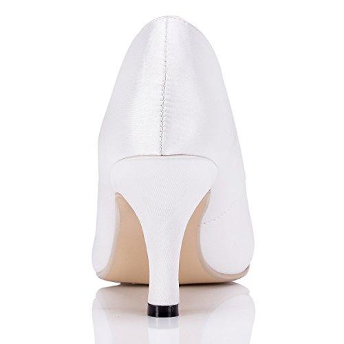 Kevin Fashion Zms1539 Damesschoenen Satijnen Bruids Bruiloft Avond Prom Pomp Schoenen Schoenen Wit