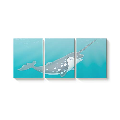 3 Piece Canvas Wall Art Oil Painting Home Art Decor,Cartoon One Horne Whale Sea Animal Pattern Pictures Artworks for Office,Stretched by Wooden Frame,Ready to Hang,16x24inx3 Panels