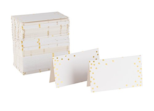 (Best Paper Greetings Small Place Cards, Table Name Tents, 100 Pack (Gold Foil Polka Dots))