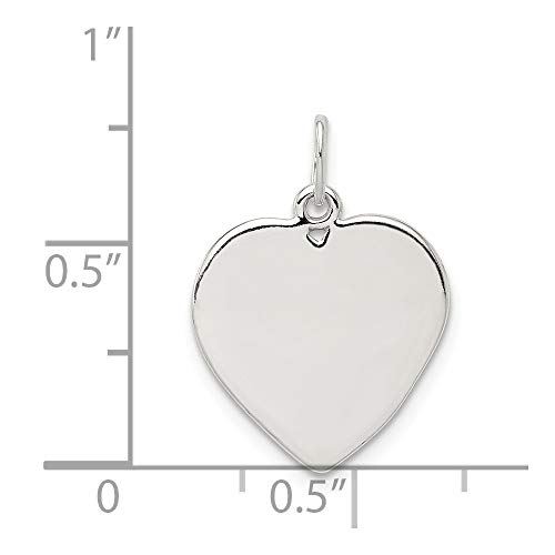 (Sterling Silver Engravable Small Heart Charm (0.8IN long x 0.6IN wide))