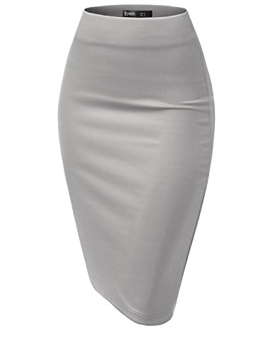 (TWINTH Women's Basic Comfort Stretch Cotton Elastic Waist Knee Length Pencil Skirt Gray 3XL Plus Size)
