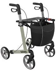 Lichtgewicht rollator met 4 wielen, opvouwbaar, voor senioren, loophulp, rollator server L champagne, inklapbaar, in hoogte verstelbaar, hoogwaardige rollatoren