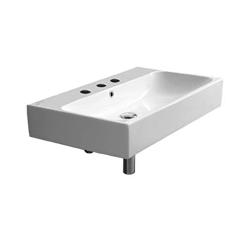 CeraStyle 080000-U-Three Hole Pinto Rectangular Ceramic Wall Mounted/Vessel Bathroom Sink, White