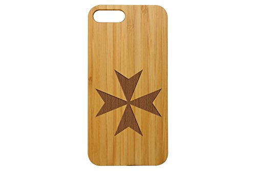 NDZ Performance Custom Wooden Phone Case for Apple iPhone 7 & iPhone 8 Plus Bamboo Engraved: Maltese Cross ()
