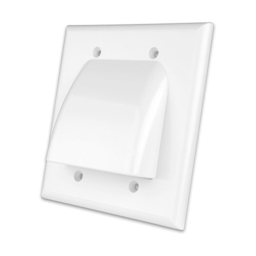 [Vanco VANWPBWWX Flat Panel TV Bulk Cable Single Gang Wall Plates (White)] (3/4