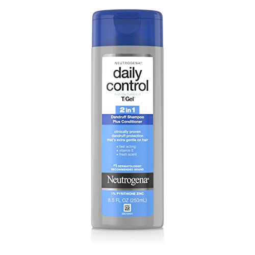 Neutrogena T/Gel Daily Control 2-in-1 Anti-Dandruff Shampoo Plus Conditioner with Vitamin E and Pyrithione Zinc, Fast Acting Relief for Scalp Itching and Flaking, 8.5 fl. oz