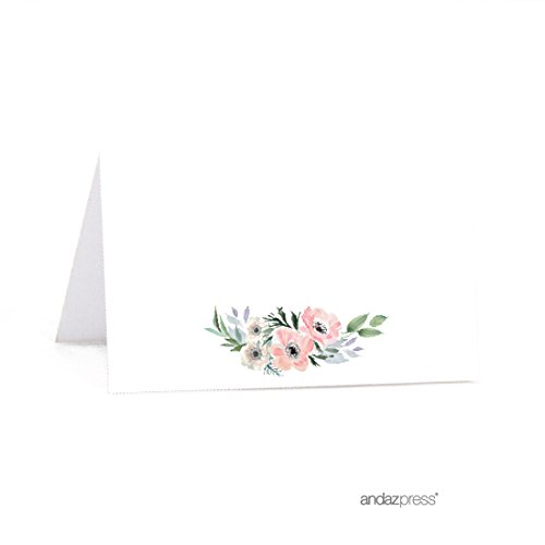 Andaz Press Peach Coral Floral Garden Party Wedding Collection, Printable Table Tent Place Cards, 20-Pack