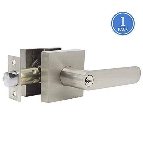 - Keyed Entry Door Handle Set in Satin Nickel Finish, Keyed Alike Front/Exterior Door Levers One Keyway, for Commercial/Residential Use, Right Handing, 1 Pack