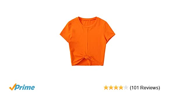 2710454176f MakeMeChic Women's Summer Crop Top Solid Short Sleeve Tie Front T-Shirt at  Amazon Women's Clothing store: