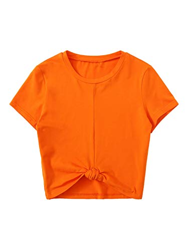 MAKEMECHIC Women's Summer Crop Top Solid Short Sleeve Tie Front T-Shirt Top Orange S