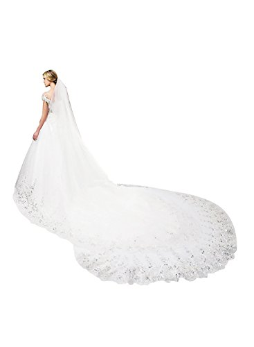 - EllieHouse Women's Sequins Lace Ivory Wedding Bridal Veil With Comb S01IV