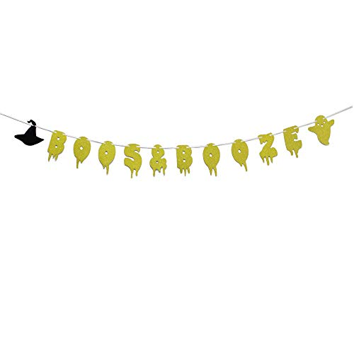 MAGQOO Gold Glitter Boos & Booze Banner Halloween Party Home Decor Decoration -
