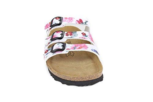 JOE N JOYCE Damen Paris Soft-Fußbett Rose Syn Soft Sandalen Pantoletten, Rose White, 40 EU-Normal