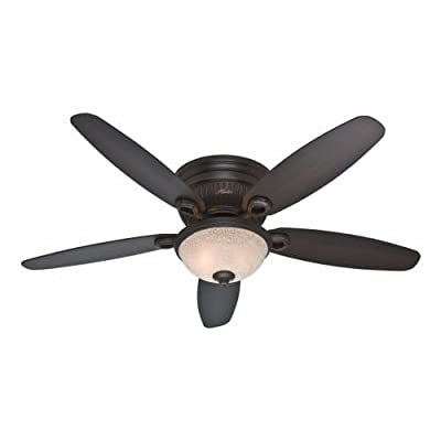 """Hunter 53253, Ashmont Onyx Bengal 52"""" Ceiling Fan with Light"""
