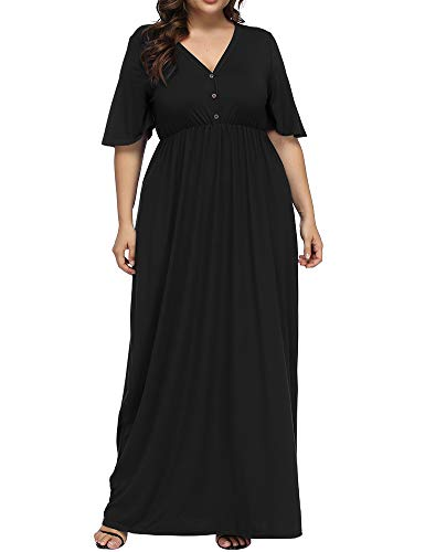 Allegrace Women's Plus Size V Neck Button Up Maxi Dress Bell Sleeve Beach Long Dresses Black 4X