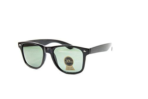 I's Colour Retro Rewind Women Men Daily Vintage Classic Fashion Tempered Glass Lens Sunglasses, Black