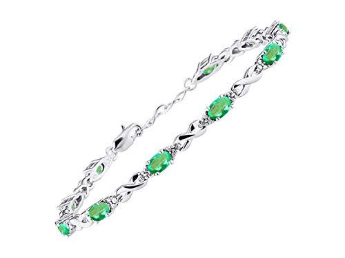 Stunning Emerald & Diamond XOXO Hugs & Kisses Tennis Bracelet Set in Sterling Silver - Adjustable to fit 7