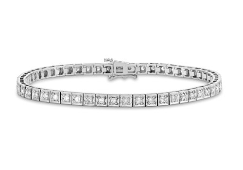 9 ct or blanc 1 CT Diamant carré Bracelet de tennis 18 cm/7 '
