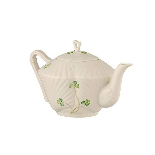 - Belleek Pottery Harp Shamrock Teapot, Green/White
