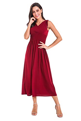 - Le Vonfort Surplice Dresses for Womens, Spring Breathable Sleeveless Plain Vneck Maxi Dress Wine Medium