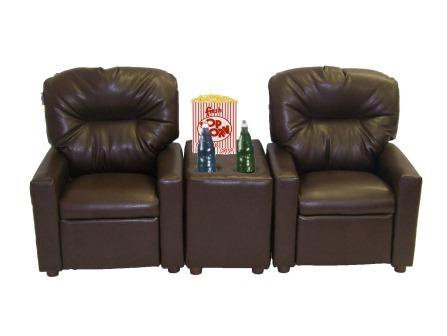 Home Movie Theater Chairs (Dozydotes 11533 Theater Seating Pecan Brown Leather-Like Recliner)