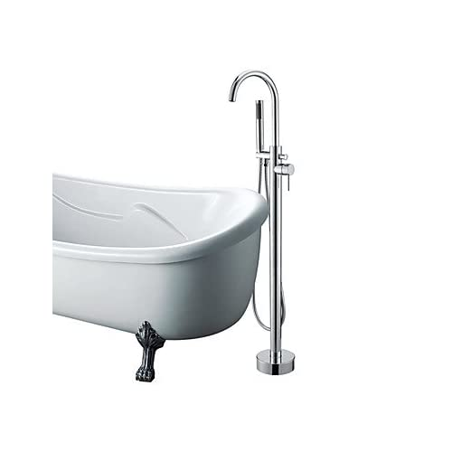 delicate Contemporary Floor Standing Tub Faucet with Hand Shower - Chrome Finish