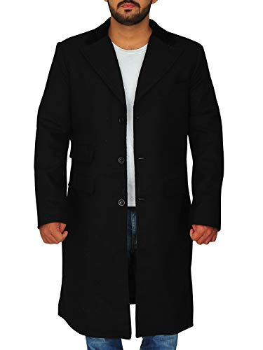 TrendHoop Men's Full Length Solid Black Overcoat Wool Blend Single Breasted 3 Button Fully Lined Hi (Solid Black, ()