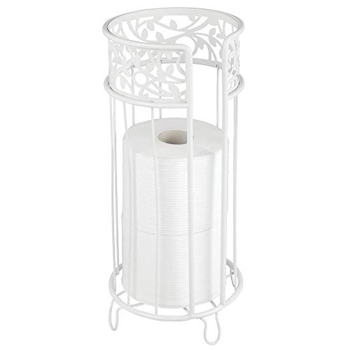 mDesign Decorative Free Standing Toilet Paper Holder Stand with Storage for 3 Rolls of Toilet Tissue - for Bathroom/Powder Room - Holds Mega Rolls - Durable Metal Wire - White (Toilet Paper White Holder)