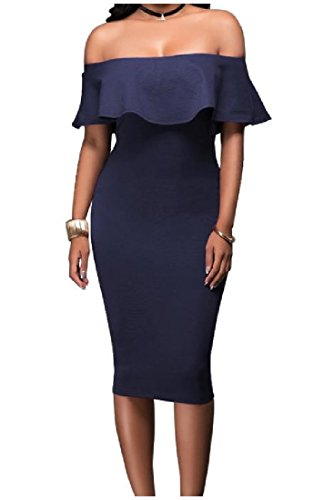 As5 Womens Evening shoulder Neck Dresses Mid Flounced Coolred Boat Off YzWqn1UUg